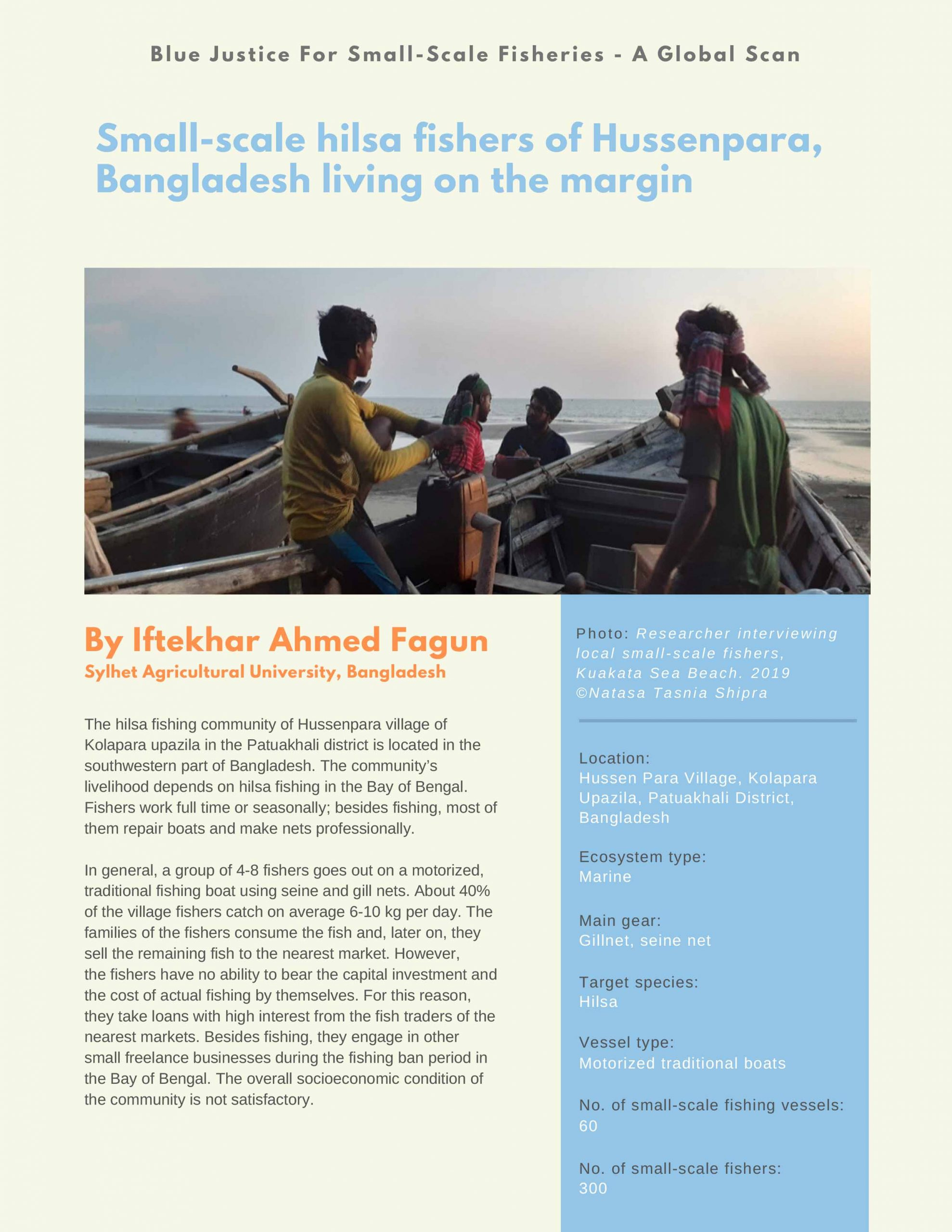 Small-scale hilsa fishers of Hussenpara, Bangladesh living on the margin